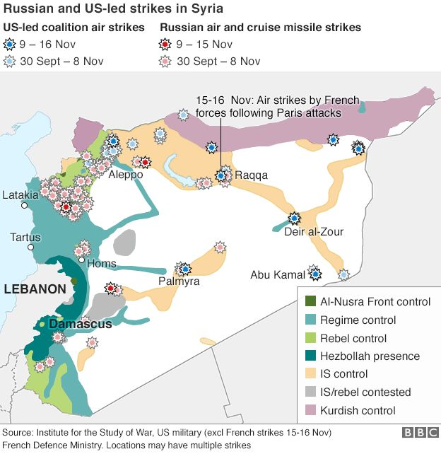 Map showing Russian and coalition air strikes in Syria