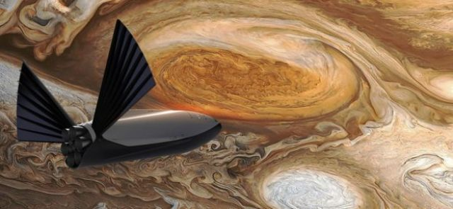 Artist's impression of spaceship at Jupiter