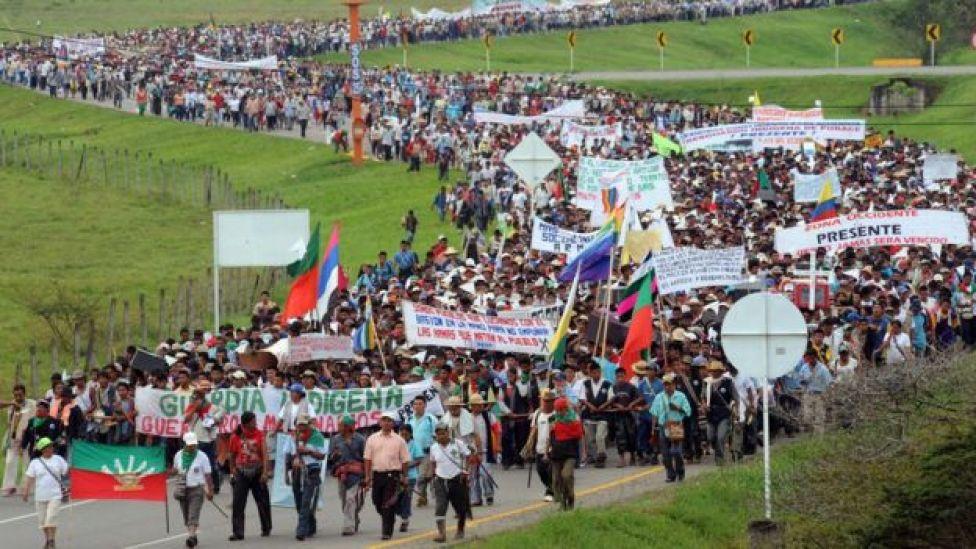Marcha indígena en 2008
