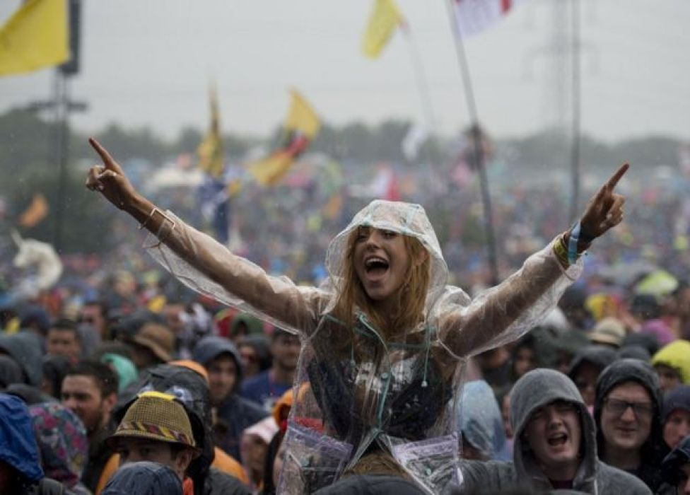 A woman in the crowd at Glastonbury