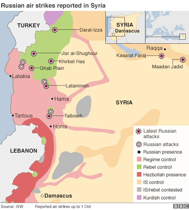 Russian air strikes in Syria map