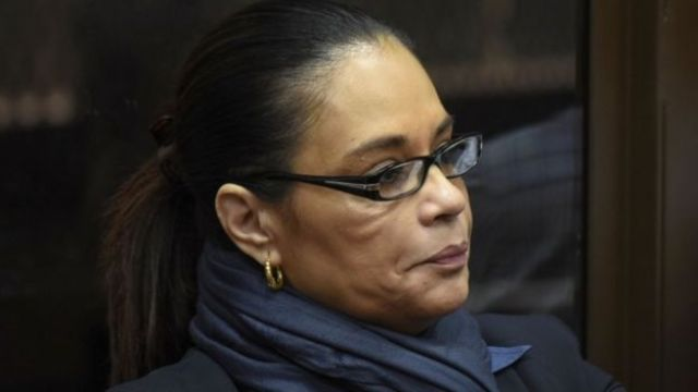 Former Guatemalan vice-president Roxana Baldetti listens during a court hearing in Guatemala City on October 27, 2017.
