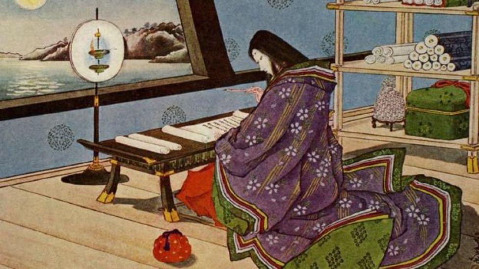 """رسم قديم يجسد كتابة """"حكاية غينجي"""""""