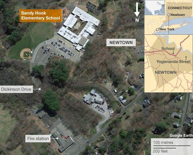 Map showing location of Sandy Hook Elementary School