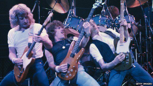 Rick Parfitt (left) and Status Quo in 1984