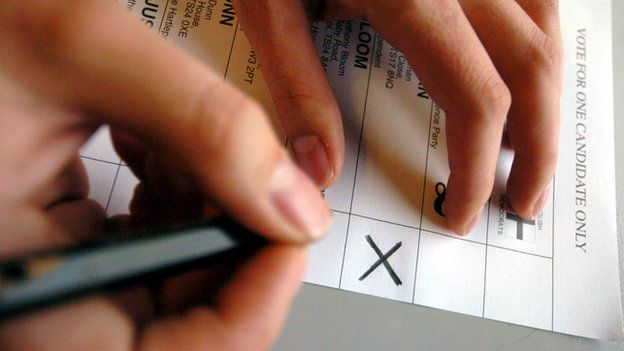 Hand writing on ballot paper