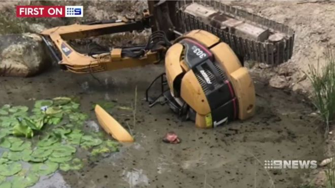 Daniel Miller trapped underwater by an excavator
