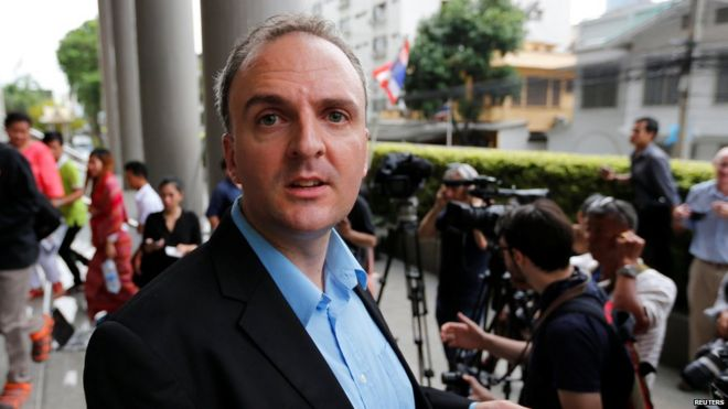British rights activist Andy Hall leaves the Bangkok South Criminal Court