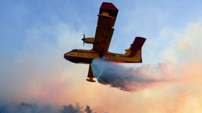An Israeli fire fighter plane helps to extinguish a fire that erupted in a suburb of the coastal city of Haifa
