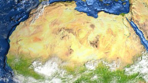 Vista satelital de desierto del Sahara