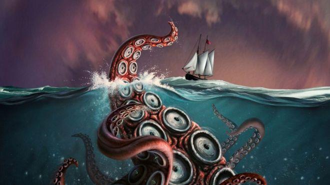 Ilustración de un monstruo marino que acecha un barco