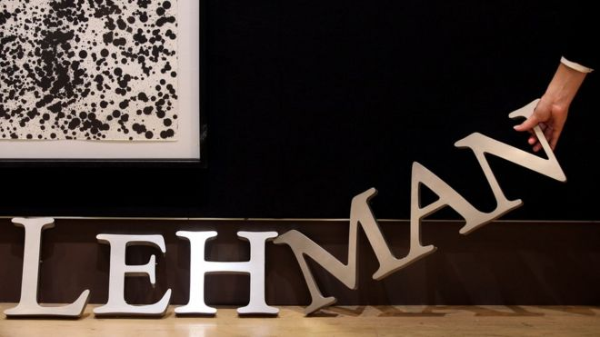 A Lehman Brothers sign is auctioned off