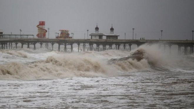 Waves whipped up by high winds hit Blackpool's North Pier as Britain's first ever named storm, Storm Abigail, hits the North West on November 9