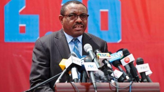 Hailemariam Desalegn pictured giving a speech