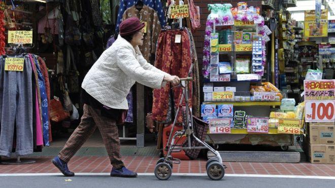 An elderly woman using a walker in Japan
