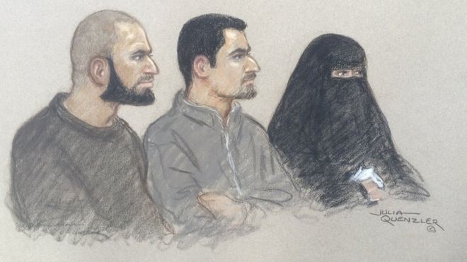 Court sketch of (l-r) Mohammed Ali Ahmed, Zakaria Boufassil and Soumaya Boufassil