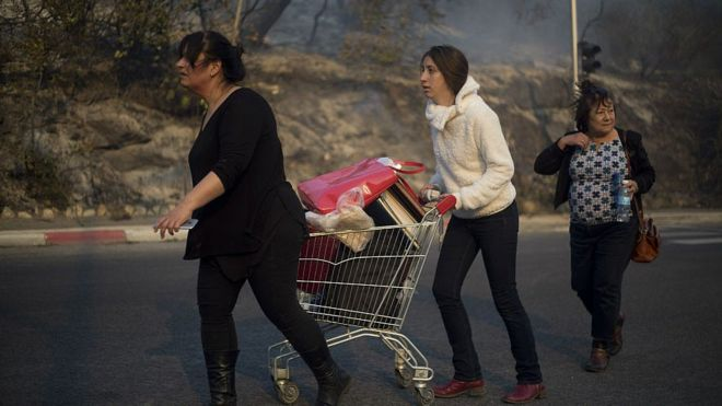 People load up a supermarket cart with belongings and flee their home in Haifa. 24 Nov 2016