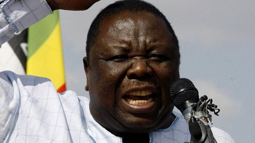 Morgan Tsvangirai speaks to supporters at a rally in Harare in October 2008