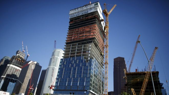 The construction site of the Wilshire Grand Center