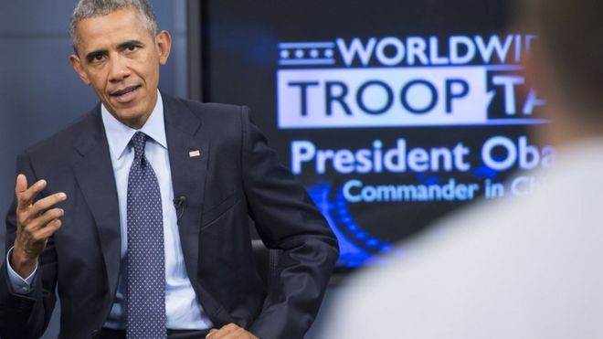 President Obama speaks to US military members