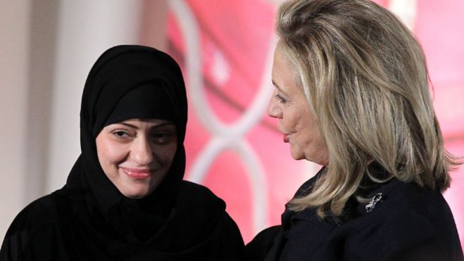 Samar Badawi (left) and Hillary Clinton. Photo: 2012