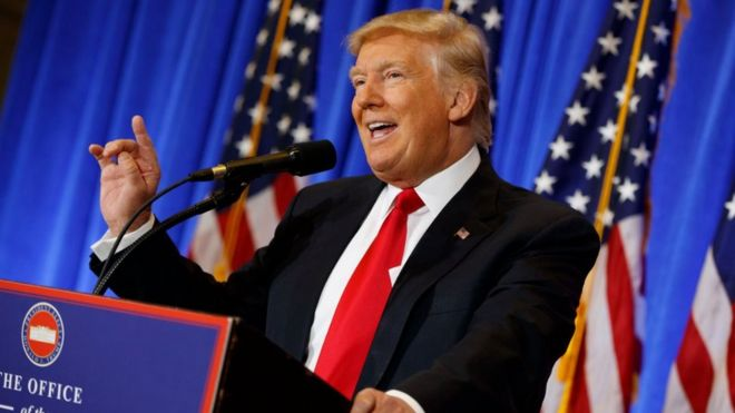 President-elect Donald Trump speaks during a news conference in the lobby of Trump Tower in New York, Wednesday, 11 January