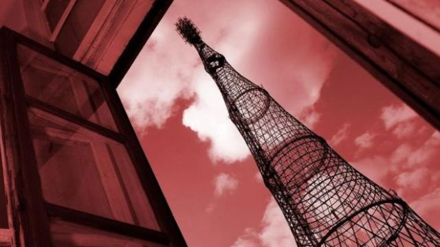 Una antena de radio soviética