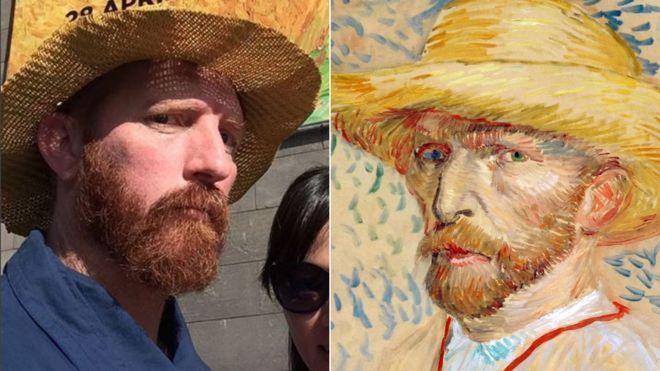 A split image of Matt Butterworth and Vincent van Gogh