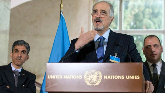 The head of the Syrian government's delegation, Bashar al-Jaafari, speaks to reporters in Geneva (16 March 2016)