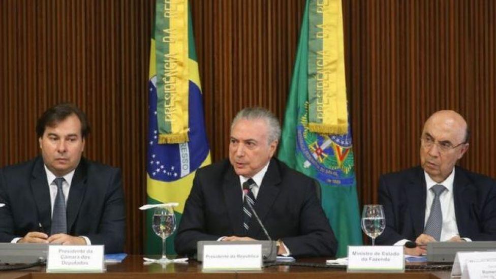 Rodrigo Maia, Temer e Henrique Meirelles