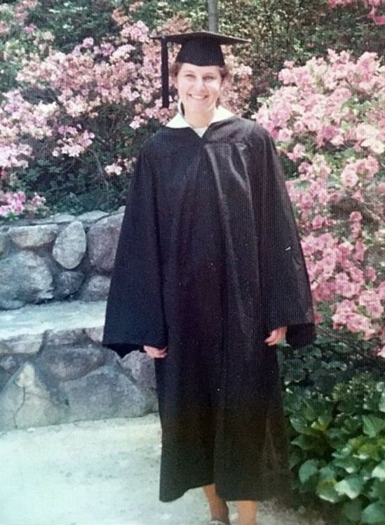 """Maryann Gray pictured at her 1975 graduation from Duke University, """"when my future seemed very bright"""""""