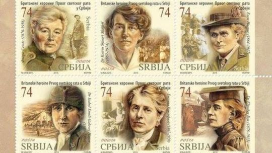 Stamps featuring Cpt Flora Sandes, Dr Katherine Stewart MacPhail, Dr Elsie Inglis, Dr Isabel Gallowey Hutton, Evelina Haverfield and Dr Elizabeth Ross