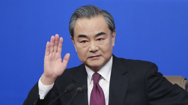 China's foreign minister Wang Yi attends a press conference at Media Center on March 8, 2017 in Beijing, China