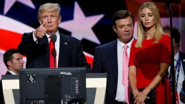Donald Trump, Paul Manafort e Ivanka Trump.
