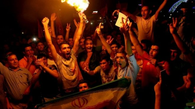Iranians celebrate the nuclear deal, 20 July 2015
