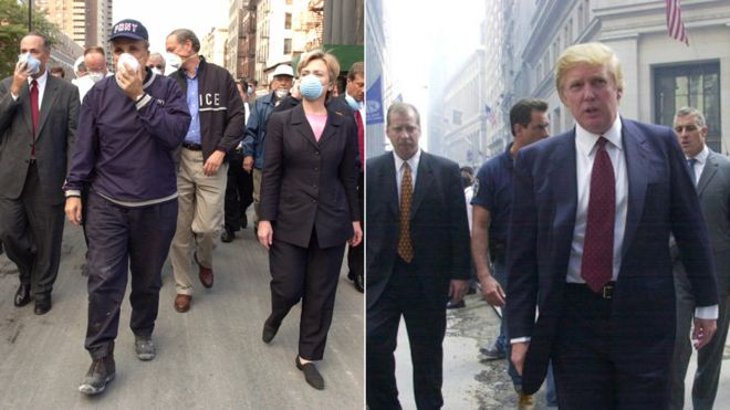 Hillary Rodham Clinton participates on a tours of the site of the World Trade Center disaster on 12 September 2001. / Donald Trump speaks outside the New York Stock Exchange a week after 9/11.