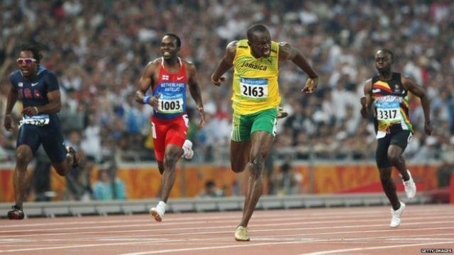 Usain Bolt at the Beijing Olympics.