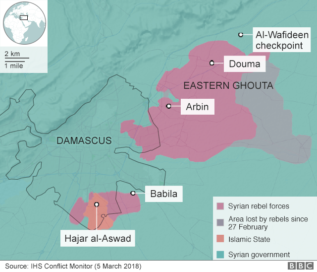 Map showing control of the Eastern Ghouta and al-Wafideen checkpoint (19 February 2017)