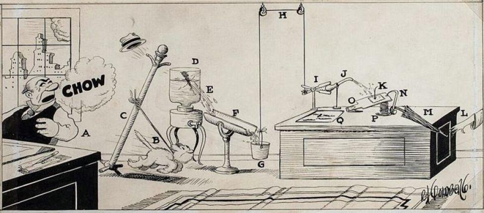 Complicada máquina. © Rube Goldberg Inc. Todos los derechos reservados. RUBE GOLDBERG® es una marca registrada de Rube Goldberg Inc. Todos los materiales se usan con permiso. rubegoldberg.com.
