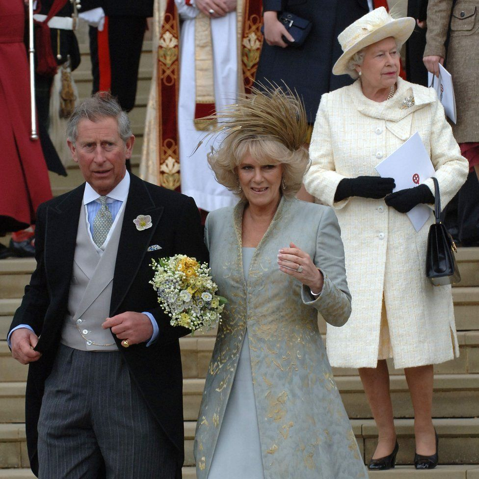The Prince of Wales leaving St George's Chapel in Windsor after marrying Camilla Parker-Bowles