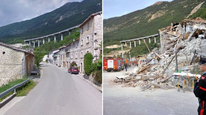 An image of some of the damage on the Via Salaria road in Pescara del Tronto compared to an image of the street before the quake - 24 August 2016