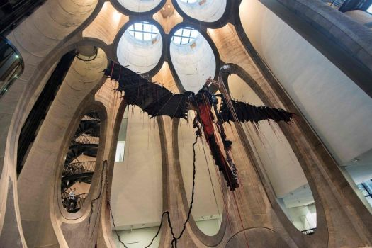 This file photo taken on September 15, 2017 shows a sculpture by South African artist Nicholas Hlobo dominating the main hall in The Zeitz Museum of Contemporary African Art in Cape Town.