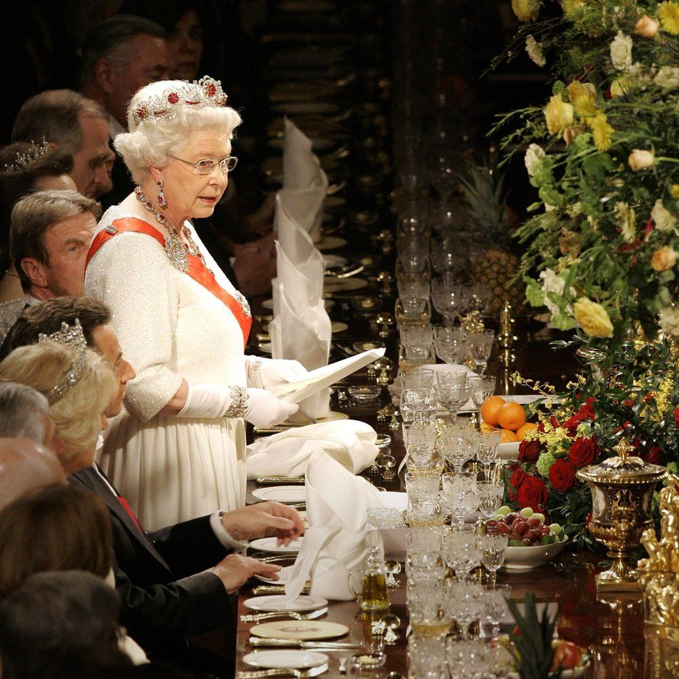 Queen Elizabeth II speaking at a state banquet at Windsor Castle at the start of a two-day state visit by President Sarkozy