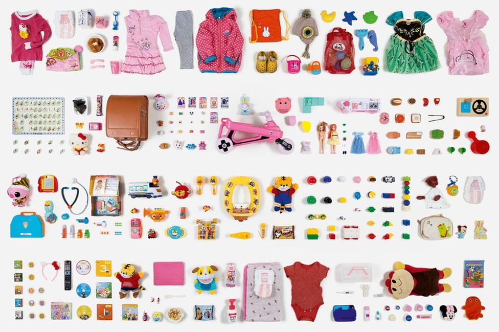 Objects touched by two-year-old Anna Haneda