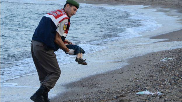 Imagen de un policía turco cargando el cadáver de un niño ahogado