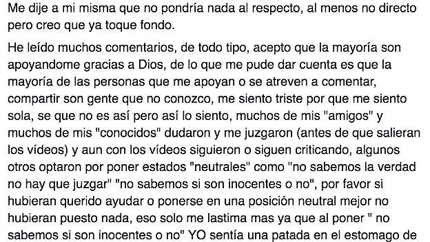 Carta que Daphne Fernández publicó en su cuenta en Facebook