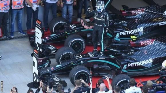 Bottas celebrates winning the Russian Grand Prix
