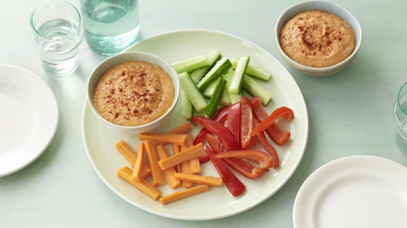 lighter hummus with vegetable