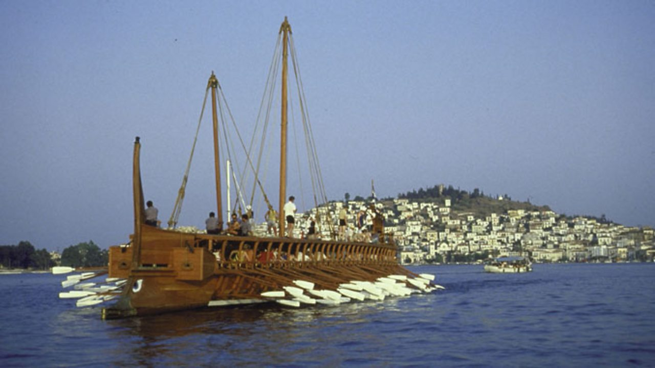 hight resolution of a replica ancient athenian warship trireme with volunteer british crew manning oars