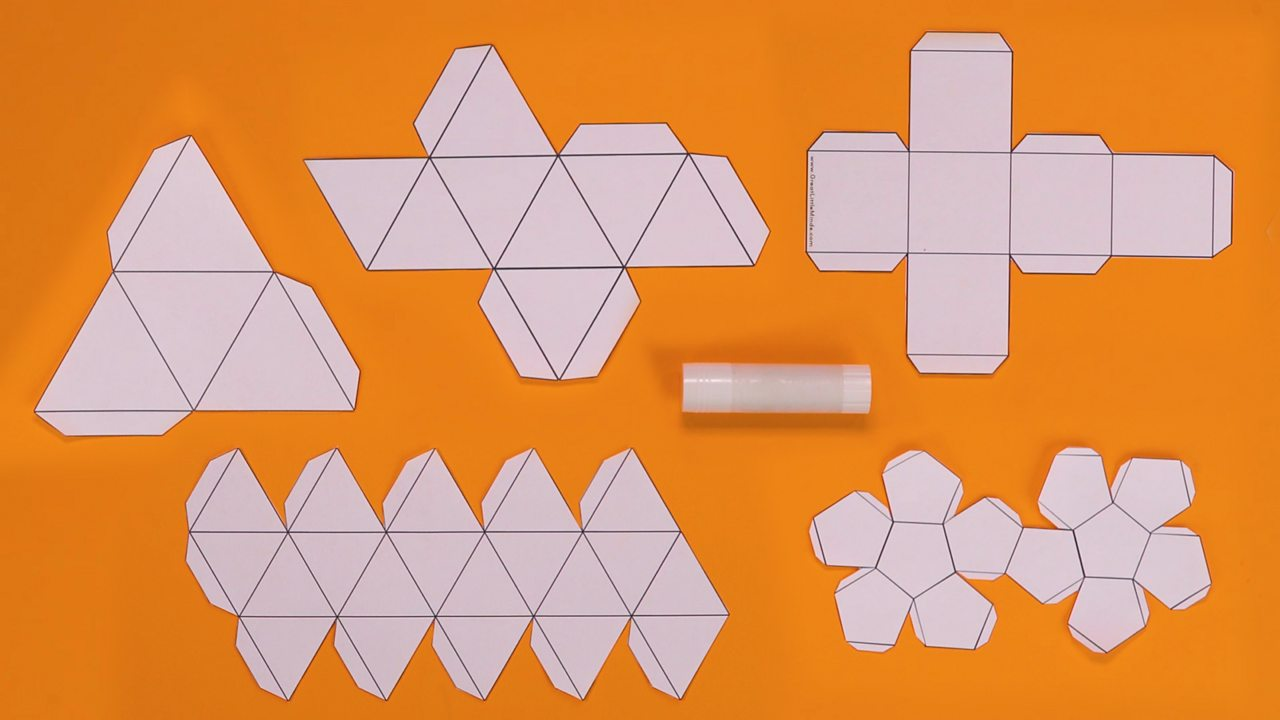 hight resolution of a tetrahedron net cube net octahedron net dodecahedron net icosahedron net